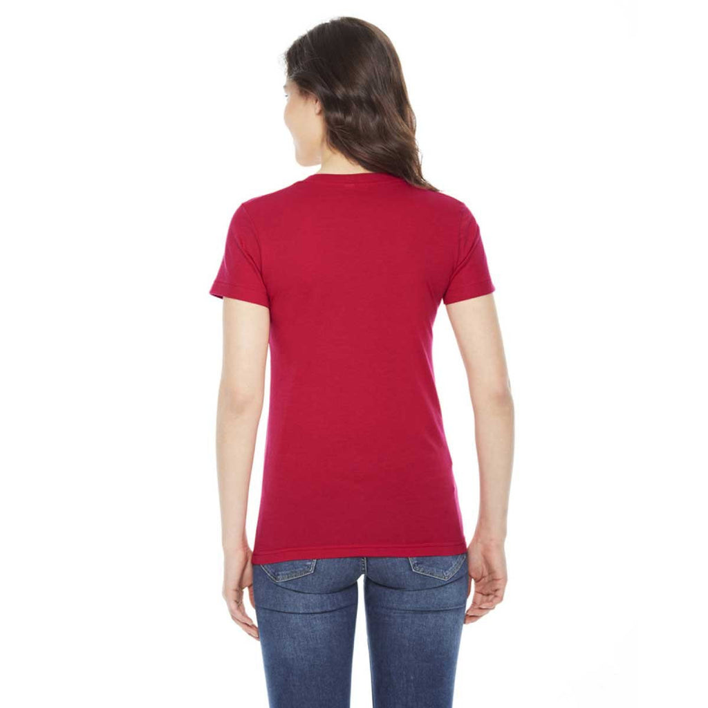 American Apparel Women's Red Poly-Cotton Short-Sleeve Crewneck