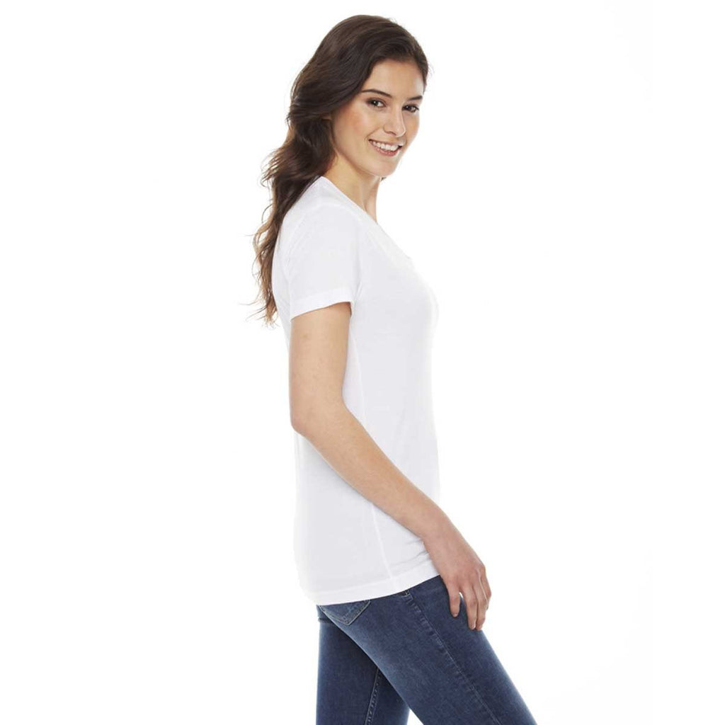 American Apparel Women's White Poly-Cotton Short-Sleeve Crewneck