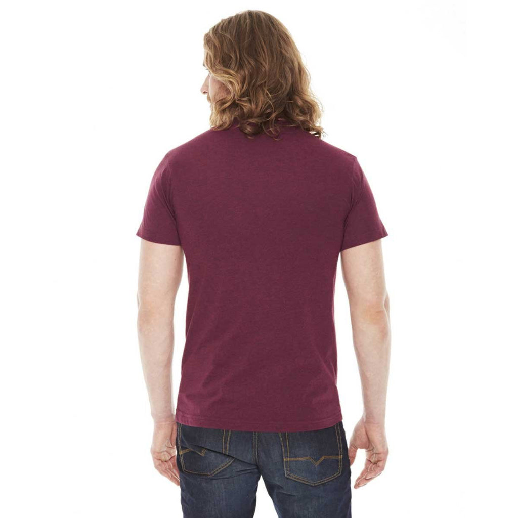 American Apparel Unisex Heather Cranberry 50/50 Short Sleeve Tee