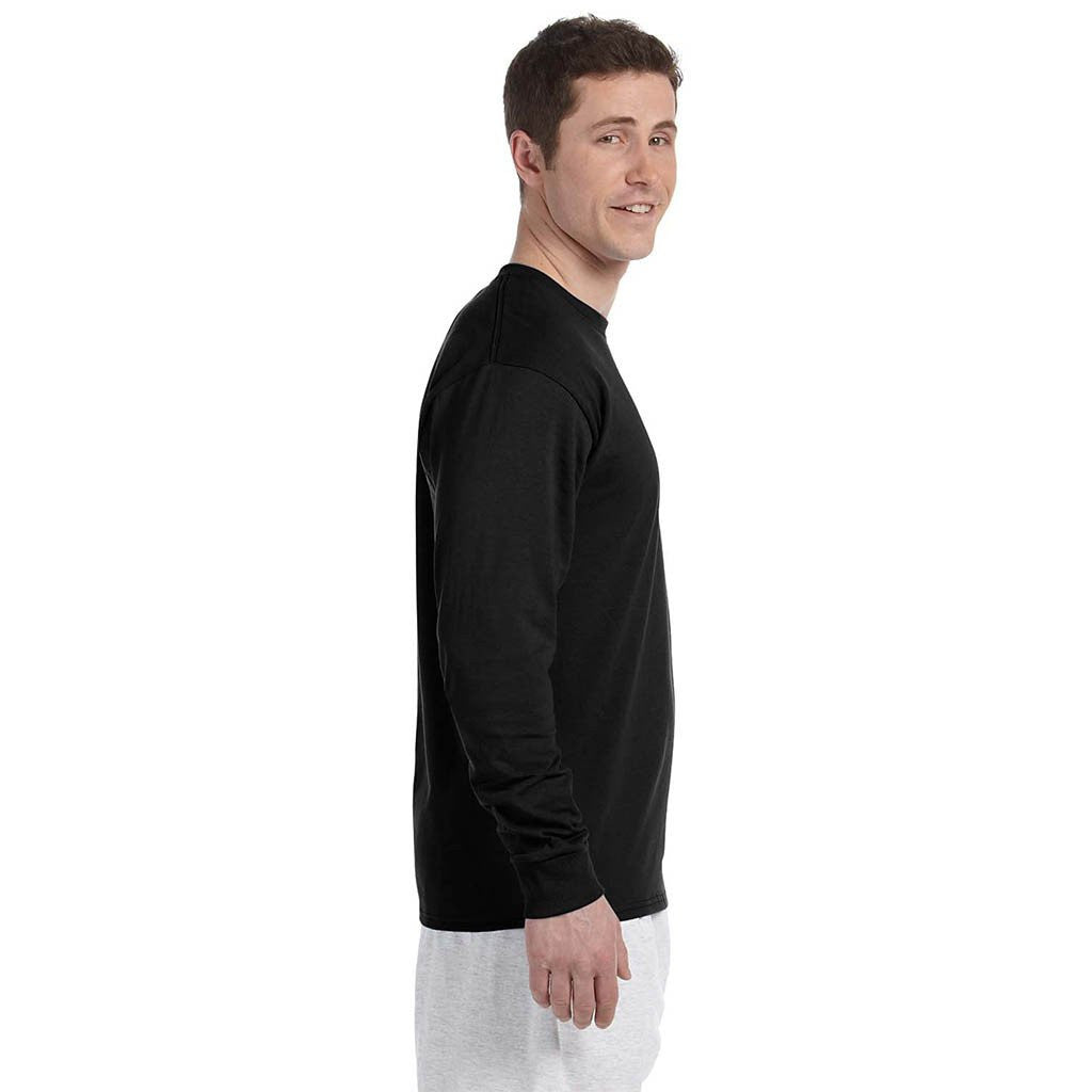 Champion Men's 5.2 oz Black L/S Tagless T-Shirt