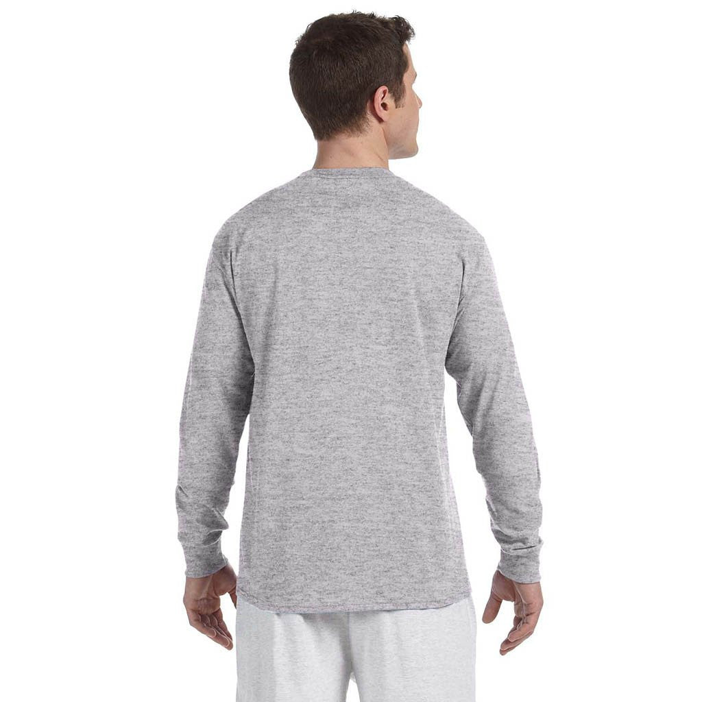 Champion Men's 5.2 oz Light Grey L/S Tagless T-Shirt