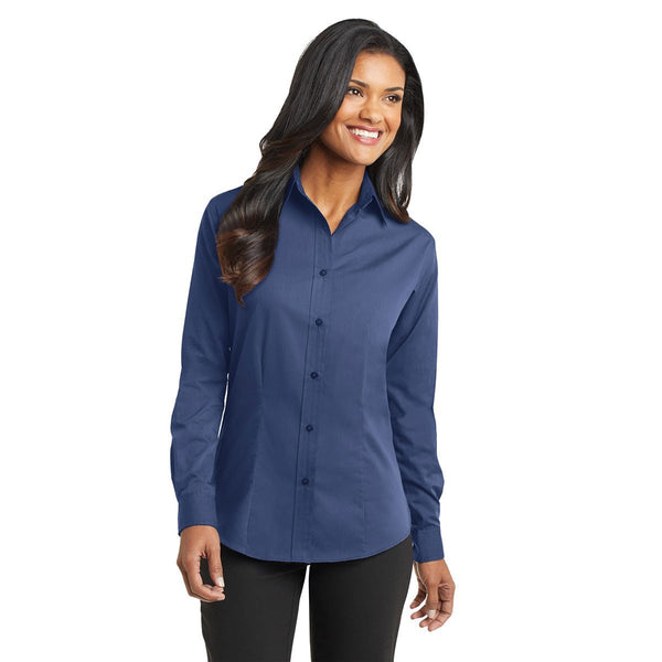Port Authority Camisa Easy Care de patrón tonal azul para mujer