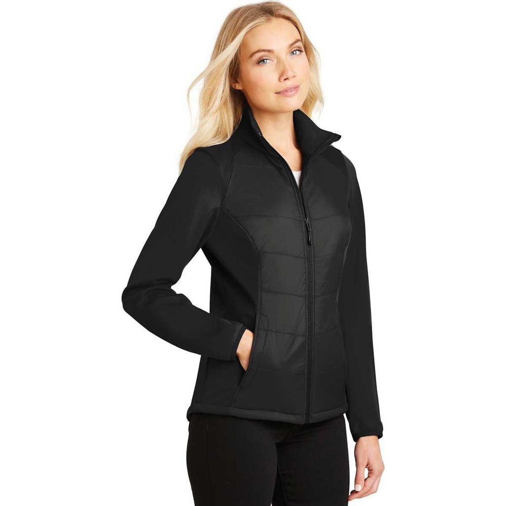 Port Authority Ladies Deep Black Hybrid Soft Shell Jacket
