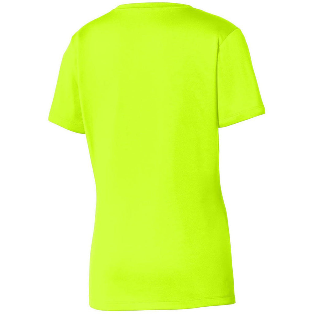 Sport-Tek Women s Neon Yellow PosiCharge Tough Tee d411a7e1dc58e