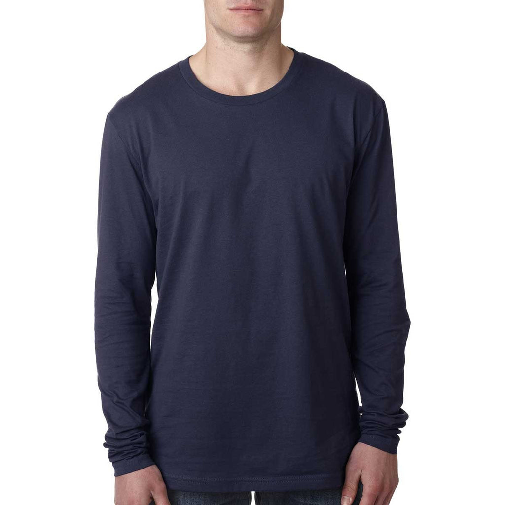 Next Level Men's Midnight Navy Premium Fitted Long-Sleeve Crew Tee