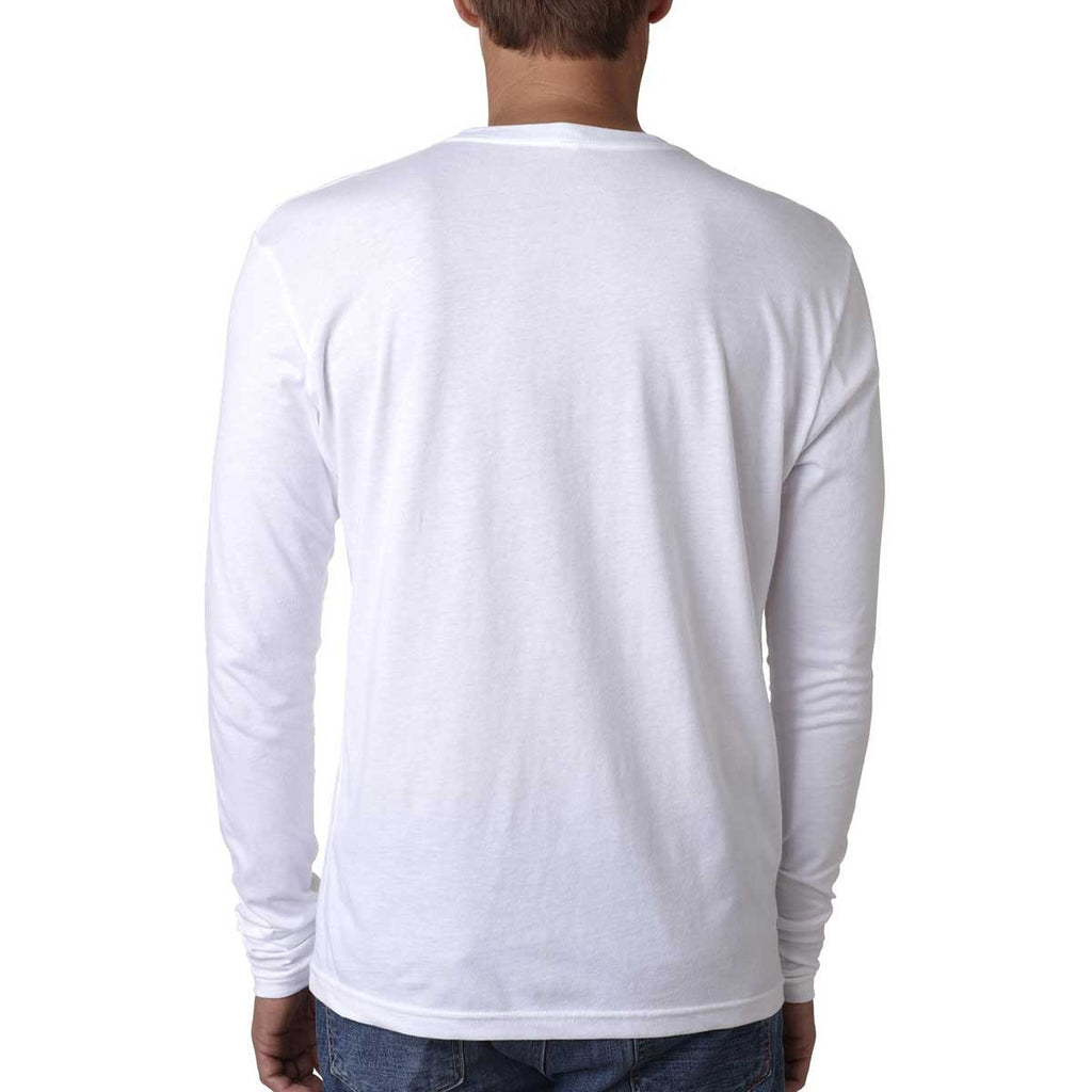 Next Level Men's White Premium Fitted Long-Sleeve Crew Tee