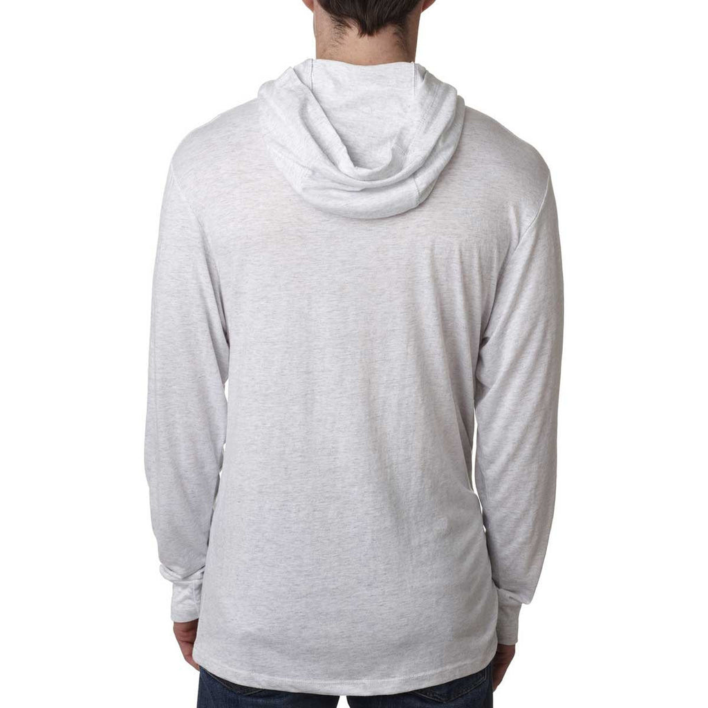 Next Level Unisex Heather White Triblend Long Sleeve Hoodie
