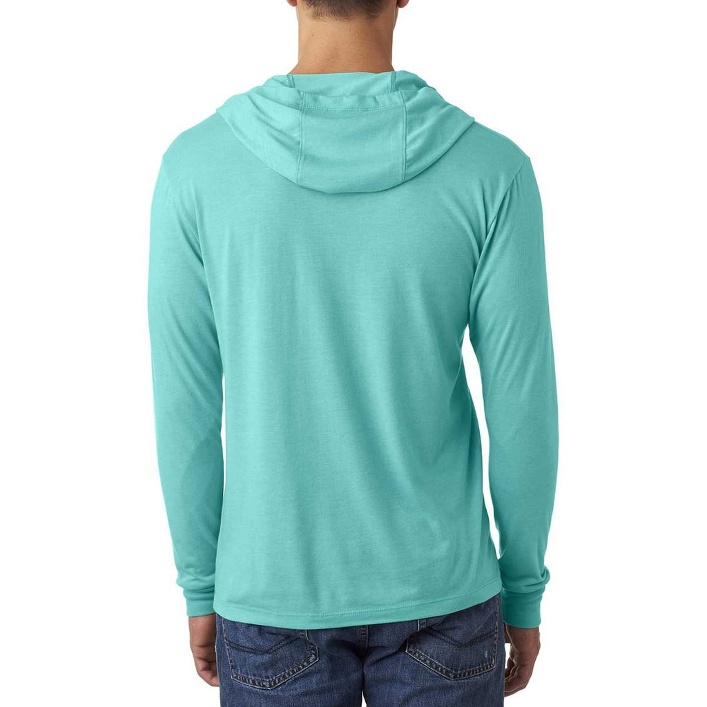 Next Level Unisex Tahiti Blue Triblend Long Sleeve Hoodie
