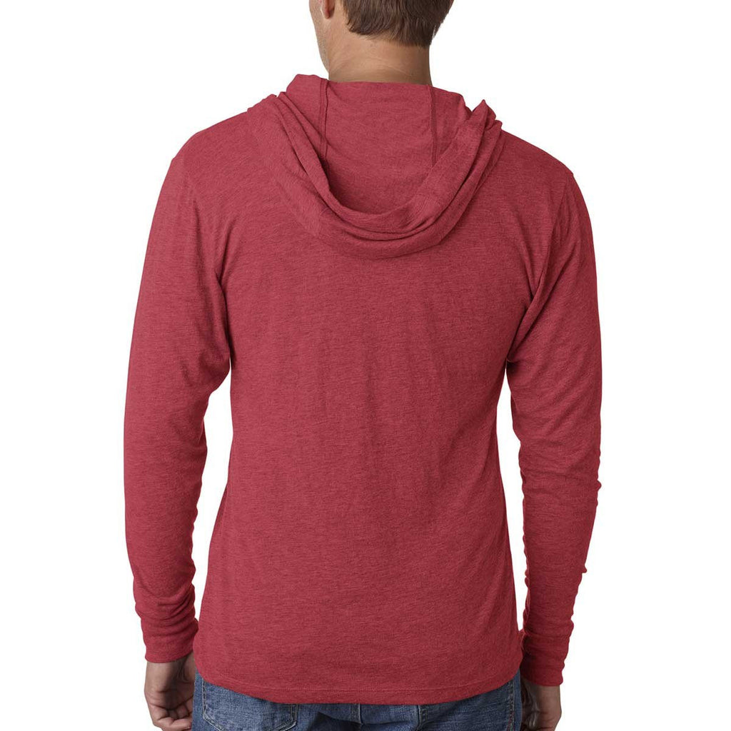 Next Level Unisex Vintage Red Triblend Long Sleeve Hoodie