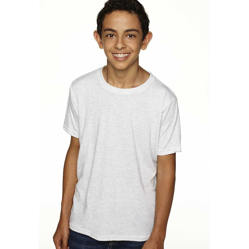 Next Level Boy's Heather White Triblend Crew Tee