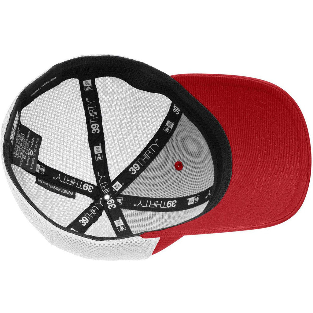 New Era 39THIRTY Scarlet Red/White Stretch Mesh Cap