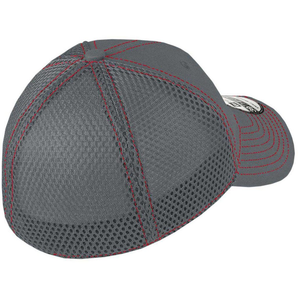New Era 39THIRTY Graphite/Red Stretch Mesh Contrast Stitch Cap