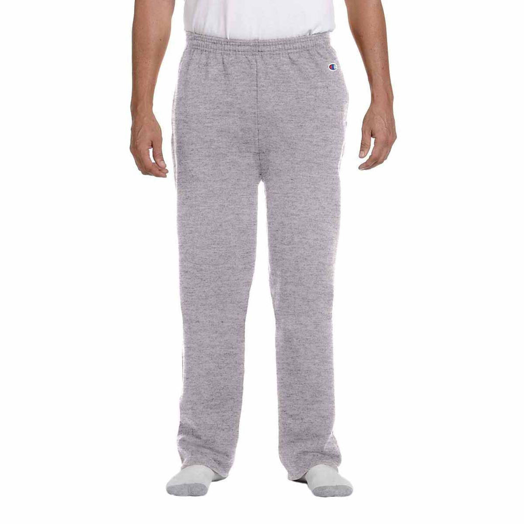 Champion Men's Light Steel Eco 9-Ounce Open-Bottom Fleece Pant with Pocket