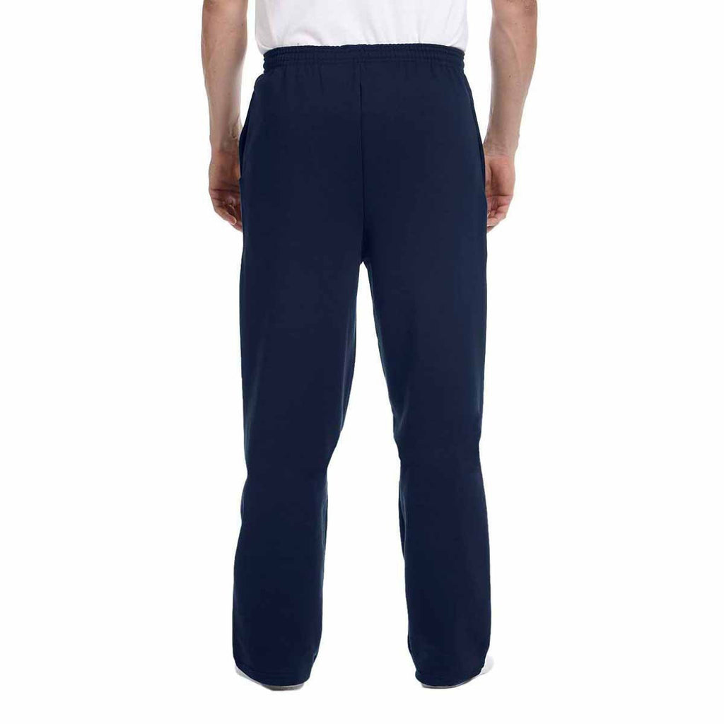 Champion Men's Navy Eco 9-Ounce Open-Bottom Fleece Pant with Pocket