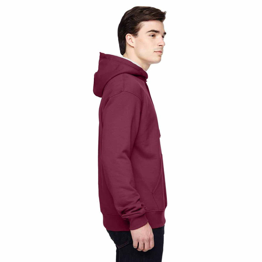 Champion Men's Sport Maroon/Athletic Heather for Team 365 Cotton Max 9.7-Ounce Pullover Hood