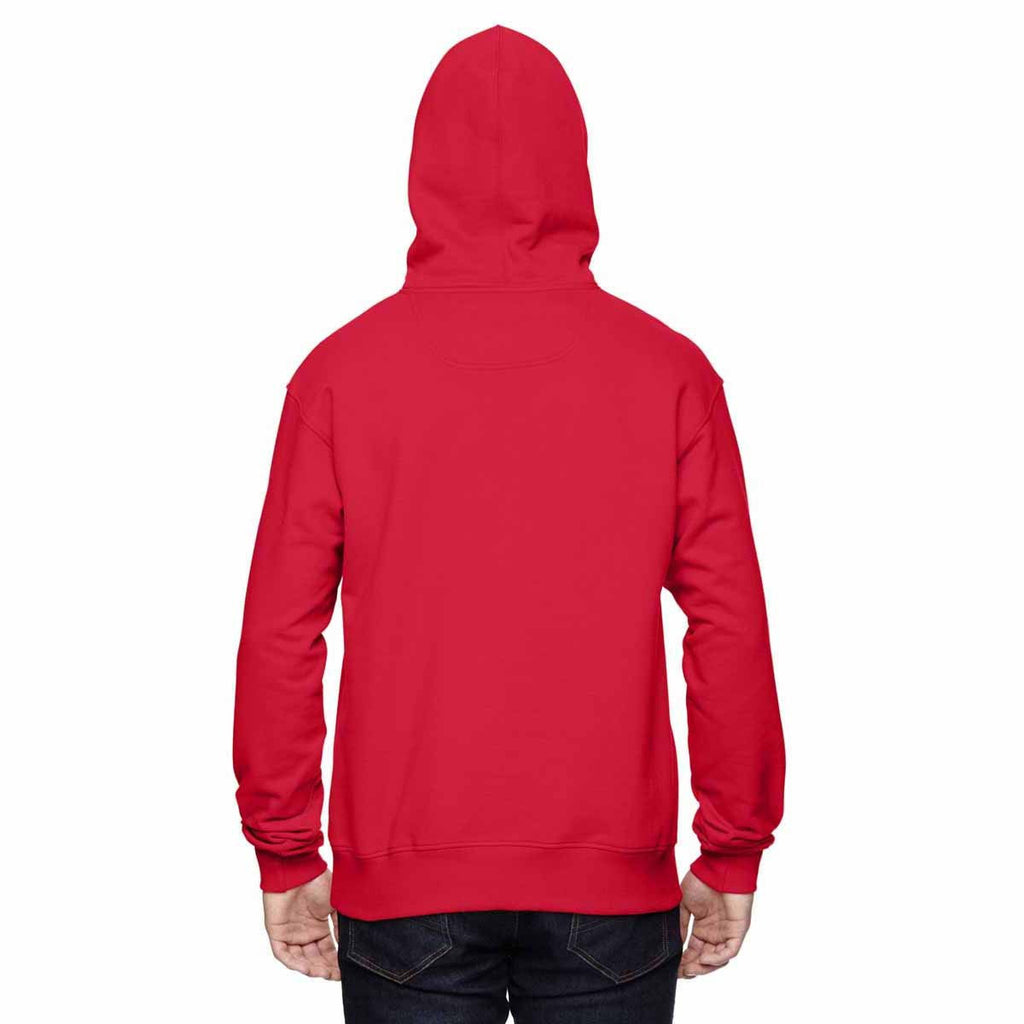 Champion Men's Sport Red/Athletic Heather for Team 365 Cotton Max 9.7-Ounce Pullover Hood
