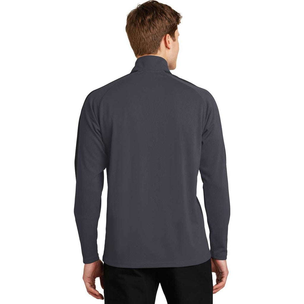 Sport-Tek Men's Iron Grey/Black Sport-Wick Textured Colorblock 1/4-Zip Pullover