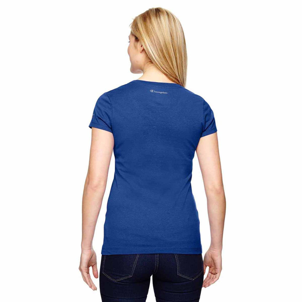 Champion Women's Sport Royal for Team 365 Vapor Cotton Short-Sleeve V-Neck