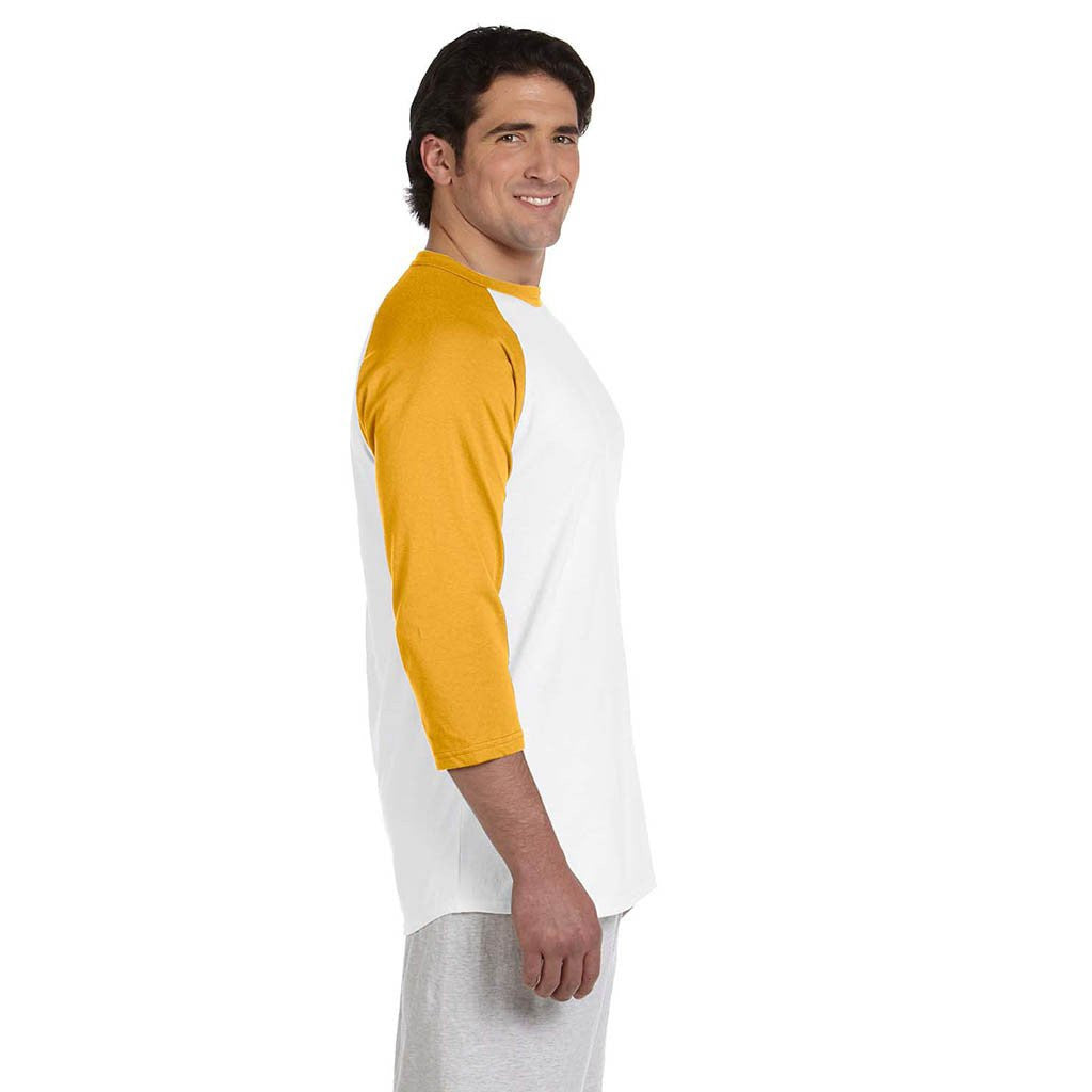 Champion Men's White/Gold Baseball T-Shirt