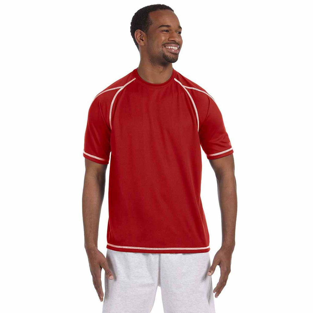 Champion Men's Scarlet Double Dry 4.1-Ounce Mesh T-Shirt