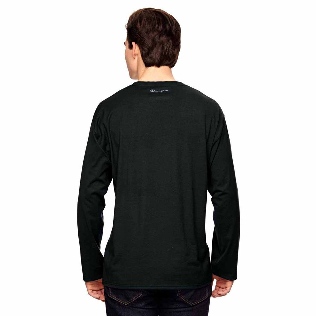 Champion Men's Black Vapor Cotton Long-Sleeve T-Shirt