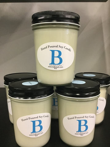 Clean burning soy candles. Our 8 ounce candles have a tested burn time of 30+ hours when burned in accordance to industry suggested burn instructions. Great throw and can fill a 12x12 room.