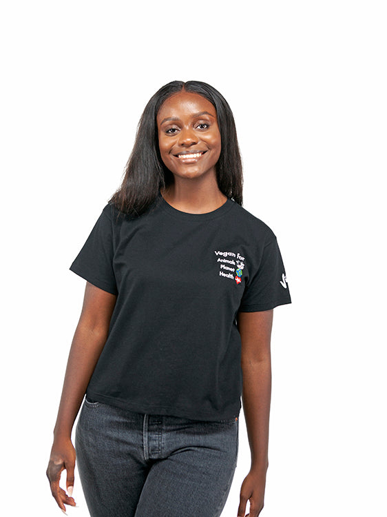 Vegan For... Women's Loose Fit Short Tee - Black