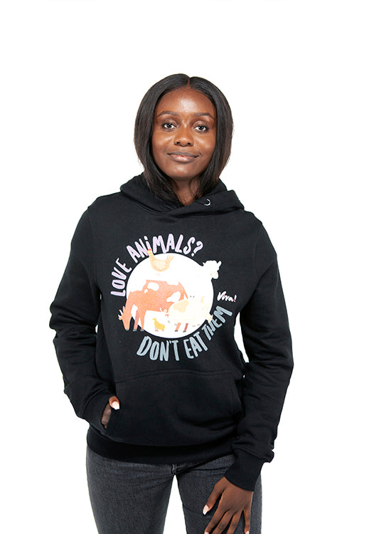 Love Animals? Don't Eat Them Unisex Hoody - Black