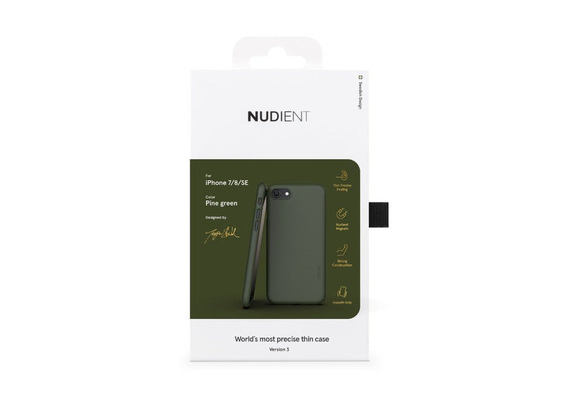 Nudient - Tunt iPhone 7/8/SE Skal V3 - Pine Green