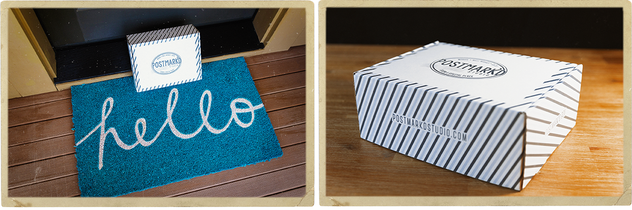 Hello Doormat with Postmark'd Studio Box