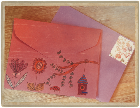 Pink and Purple Envelopes with Garden Illustrations