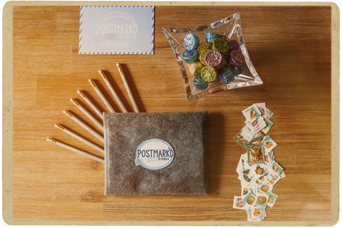 Postmark'd Studio Bag, Envelope, Pencils, Stamps, and Candy