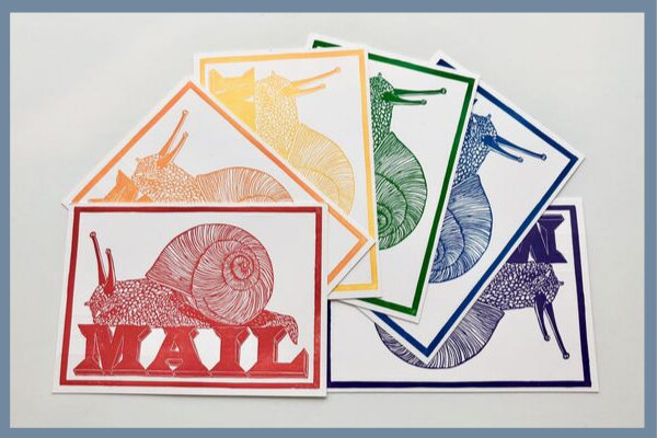 Snail-Mail Rainbow Postcards from Postmark'd Studio