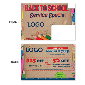 back to school special postcard for contractors