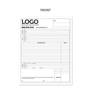 Carbonless contractor invoice form