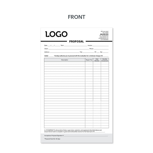 carbonless proposal invoice form for electricians