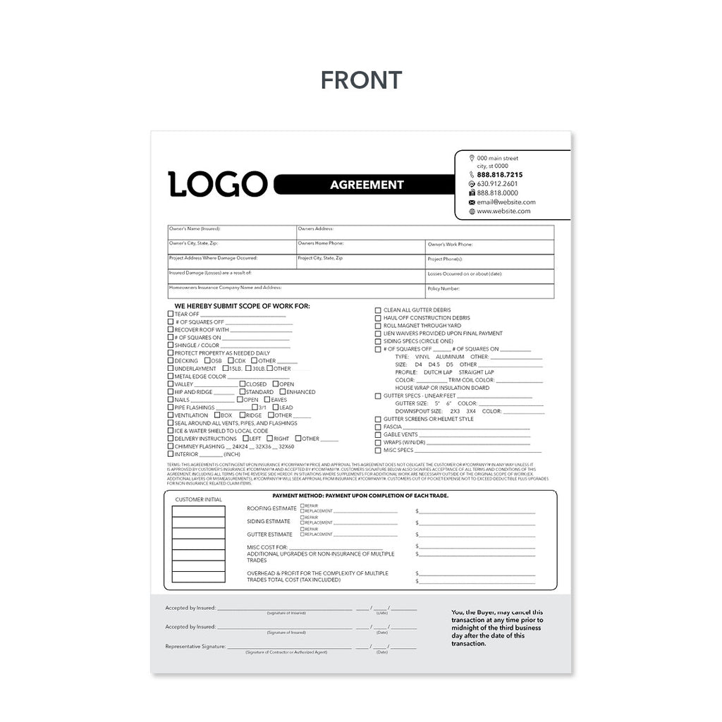 Roofing Agreement Invoice