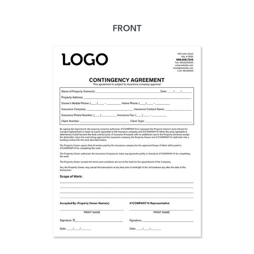 roofers contingency form