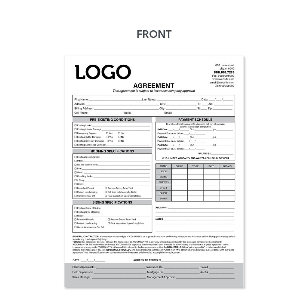 Roofing Agreement Form