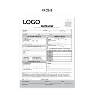 roofers carbonless invoice agreement form