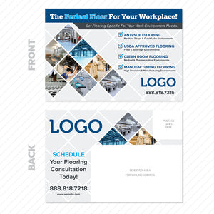 commercial flooring postcard design