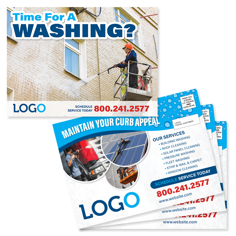 commercial pressure washing postcards