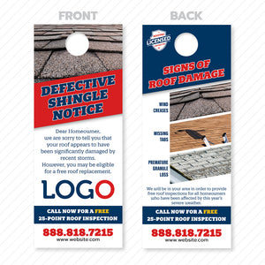 defective shingle door hanger for roofers