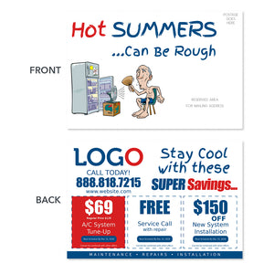 hvac postcard with old guy fridge and fan