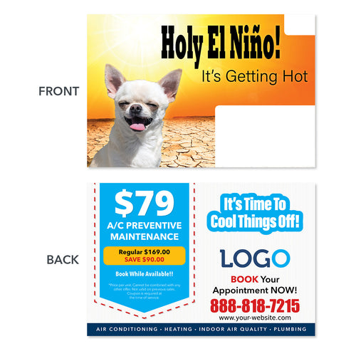 air conditioning postcard hot summer dog