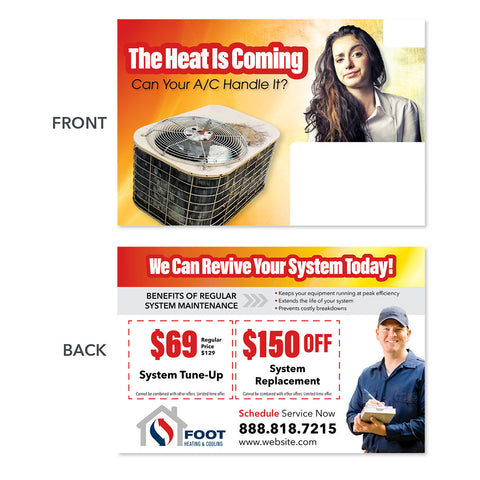 air conditioning replacement postcard for hvac company