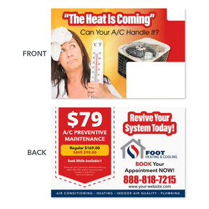 Heating is coming hvac postcard design
