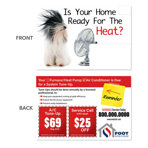 air conditioning direct mail postcard