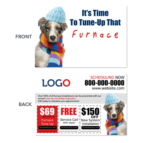 furnace maintenance hvac postcard with dog