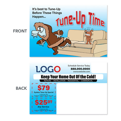 hvac heating postcard design with frozen man